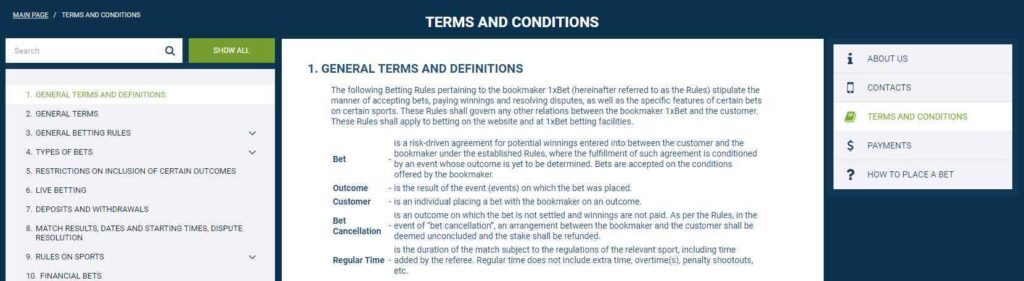 1xbet terms and conditions